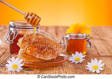 de madera, miel, panal, tarro, drizzler