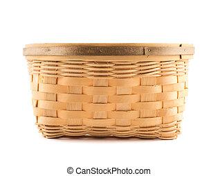 de madera, mimbre, encima, aislado, cesta, blanco