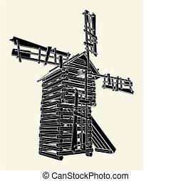 de madera, molino de viento