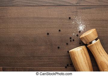de madera, molino, pimienta, saleros