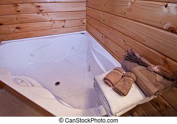 de madera, montaña, cuarto de baño, logia