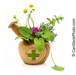 de madera, mortero, con, farmacia, cruz, y, hierbas frescas