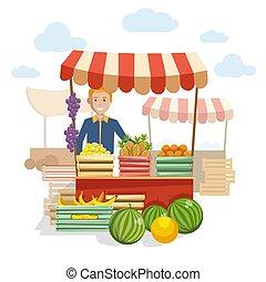 de madera, mostrador, fruta, delicioso, bayas, mercado
