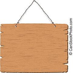 de madera, muestra que cuelga, blanco