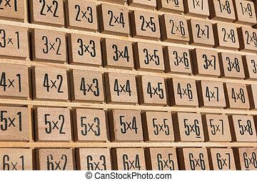 de madera, multiplicación, educativo, tabla