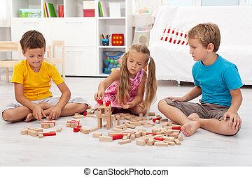 de madera, niños, bloques, tres, juego