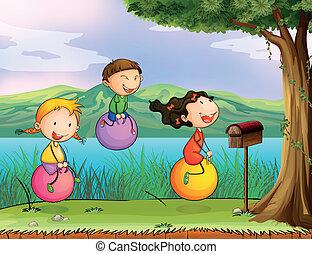 de madera, niños, juego, buzón