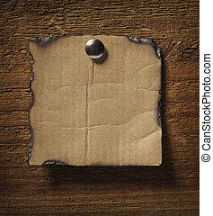 de madera, nota, pared, papel, empresa / negocio