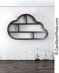 de madera, nube, en, interior