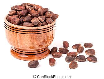 de madera, nueces, cedro, plano de fondo, unpeeled, barril, blanco