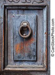 de madera, oscuridad, puerta, knocker., panel