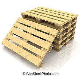 de madera, paletas, en, el, fondo blanco