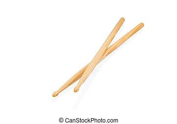 de madera, palillos, dos, aislado