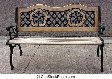 de madera, parque, bench.