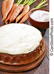 de madera, pastel, zanahoria, glaseado, tabla