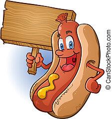 de madera, perro, señal, caliente, tenencia, caricatura