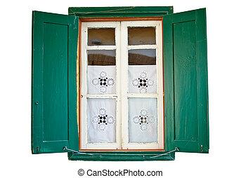 de madera, pintado, ventana, verde, obturadores