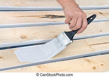 de madera, pintura, tablillas