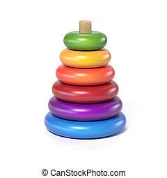 de madera, pirámide, juguete de los niños