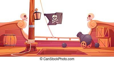 de madera, pirata, barco, onboard, cañón, cubierta, vista