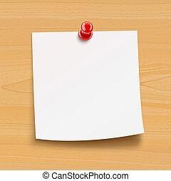 de madera, placa, aviso, papel, alfiler