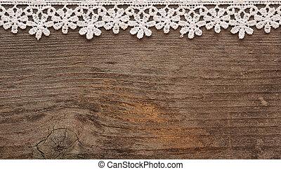 de madera, plano de fondo, con, blanco, encaje, marco