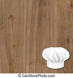 de madera, plano de fondo, con, cocinero, gorra