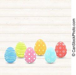 de madera, plano de fondo, con, colorido, tradicional, huevos, para, pascua
