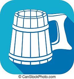 de madera, plano, jarro de cerveza, icono