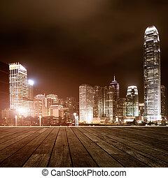 de madera, plataforma, y, ciudad