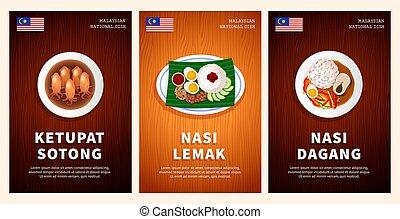 de madera, platos, malaysian, sotong, tradicional, nacional, alimento, dagang., mesa., cocina, lemak, ketupat, nasi