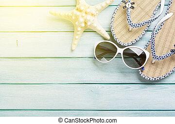 de madera, playa, accesorios, plano de fondo