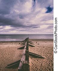 de madera, playa, portobello, viejo, muelle