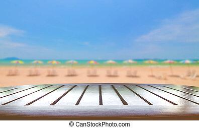 de madera, playa