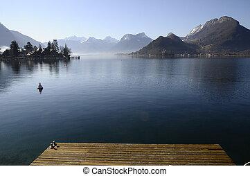 de madera, pontón, lago, puerto, mañana, annecy, talloires