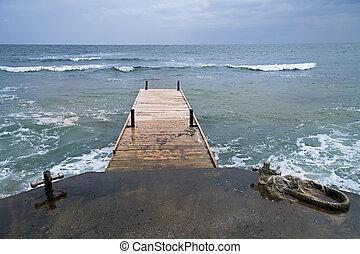de madera, pontón, viejo, mar