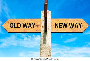 de madera, poste indicador, con, dos, contrario, flechas, encima, claro, cielo azul, viejo, manera, y, nuevo, manera, señales