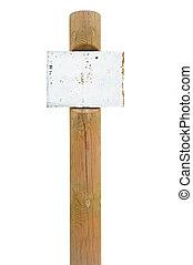 de madera, poste indicador, metal, oxidado, señal, poste, signage, tabla, poste, copia