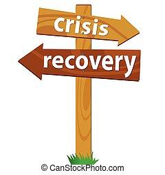 de madera, poste indicador, recuperación, crisis
