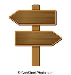 de madera, poste indicador, signo., fondo., vector, flecha,...