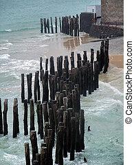 de madera, postes