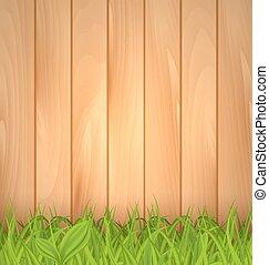 de madera, primavera, frescura, pared, hierba verde