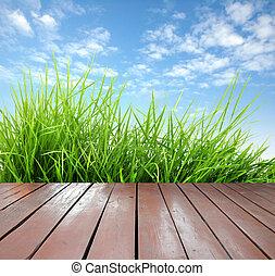 de madera, primavera, verde, terraza, fresco, pasto o césped