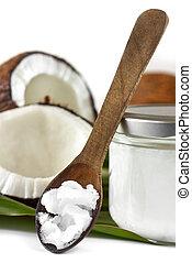 de madera, primer plano, aceite, cuchara, coco