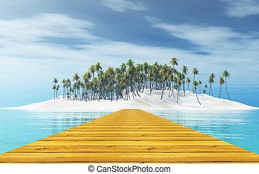 de madera, primero, embarcadero, árboles, tropical, palma, isla, 3d