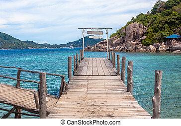 de madera, Puente,  nangyuan, isla