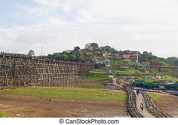 de madera, puentes, y, agua