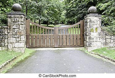 de madera, puerta, en, un, parque