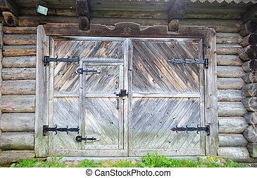 de madera, puerta, viejo