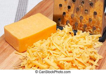 de madera, queso, cheddar, tabla, rallado